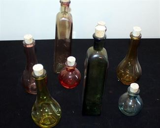 Colored Glass Bottle Collection, Qty 8, Various Sizes And Styles, With Cork Stoppers