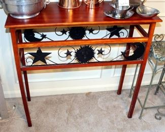 """Pine Occasional Table With Metal Star Trim, 33.75"""" x 35"""" x 14"""""""