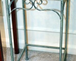 """Matching Metal Plant Stands, Qty 2, 25"""" x 11"""" x 10.75"""", And Scroll Design Plant Stand, 18.5"""" x 16"""" x 11"""""""