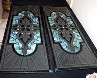 """Faux Stained And Beveled Glass Panes, Qty 2, 36.25"""" x 13.75"""" x .25"""""""