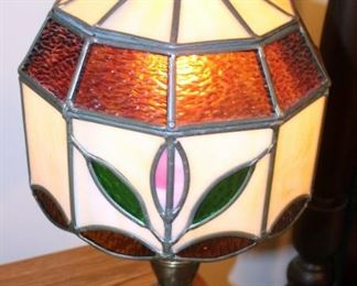 """Leaded Glass Shade Lamp With Metal Base, 19.5"""" Tall"""