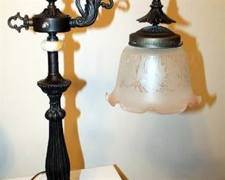 """Victorian Style Black Metal Lamp With Glass Etched Pink Edged Shade, 26.5"""" Tall"""