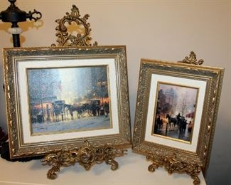 """Ornately Framed Canvas Prints Of Street Scenes With Metal Easels, Qty 2, Prints Measure 12"""" x 10"""" And 13"""" x 15"""""""