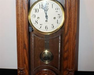Wood Cased Key Wound Wall Clock With Etched Glass Front And Westminster Chimes, Heavy Item, Made In USA, Labeled 0720, With Key