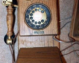 Reproduction Oak Wall Phone With Rotary Dial, And Vintage Ringer Box