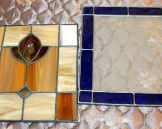 """Leaded Stained Glass Window Hangings, One With Blue And Etched Clear Glass 13"""" x 11"""", And One With Opaque Earthtone Colors 11.75"""" x 10.5"""""""