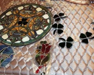 """Stained Glass Decor Including 18.5"""" Round With Irish Theme, Shamrock Sun Catcher (Needs Repair), 6.5"""" Round Dragonfly, And Floral Suncatchers"""