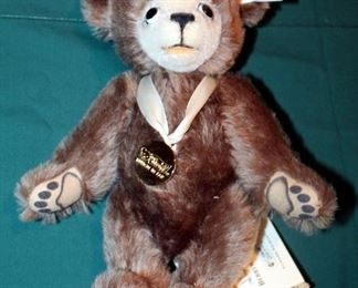"""Steiff """"The Berryman Bear"""" Genuine Mohair Stuffed Jointed Bear Numbered 04160/7000, 10.5"""" Tall, Includes Original Tags"""