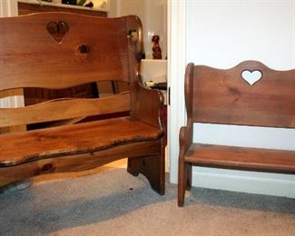 """Pine Benches With Heart Cutouts, Qty 2, 26"""" x 23.75"""" x 11.5"""" And 19"""" x 17.5"""" x 7.5"""""""