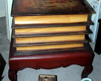 """Foxhunting Theme 4-Book Pedestal Storage Accent Table 22.25"""" x 21.5"""" x 17"""", Takahashi Bookends Qty 3, Trivets Qty 2, Coaster Assortment"""