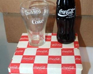 Coca Cola Collection Including 4-Piece 14 Oz. Double Rocks Glasses, New In Box, Original Classic 8 Oz. Coca Cola Filled Bottle, And Coca Cola Glass