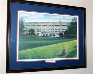 """Framed, Matted Under Glass, KU Campus Art Print, """"Jaydreamin - Allen Field House"""" Limited Edition 1336/4000, Signed By The Artist, 24.25"""" x 30.75"""""""