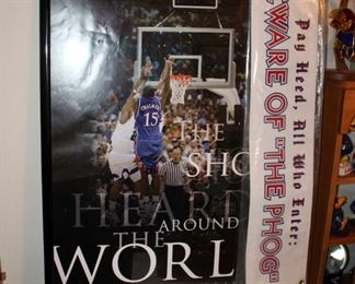 """Framed Poster Of """"The Shot Heard Round The World"""" 2008 NCAA National Champions, 37"""" x 24.75"""", And """"Pay Heed..."""" Banner"""