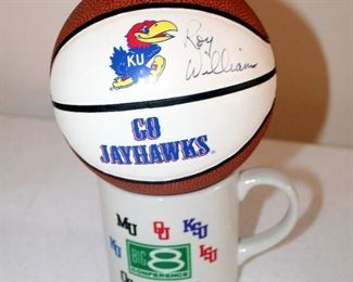 Mini Basketball Signed By Roy Williams With Big 8 Conference Coffee Mug