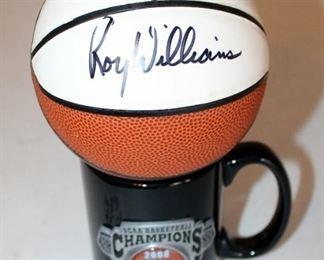 Mini Big 12 Tournament Basketball Signed By Roy Williams With NCAA 2008 Basketball Champions Coffee Mug