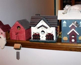 """Decorative Wood Birdhouses, Qty 5, Various Sizes Ranging From 11"""" x 9.75"""" To 6"""" x 4.5"""""""