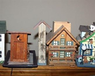 """Decorative Wood Birdhouses, Qty 5, Includes Pet Shop And Outhouse, Range In Size From 9.25"""" x 3.5"""" To 6.25"""" x 4.75"""""""