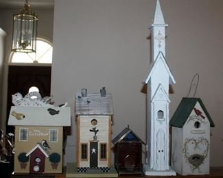 """Decorative Wood Birdhouses, Qty 4, Tallest Measures 29.5"""" x 5"""" Church, And Stained Glass Birdhouse 7.5"""" x 5.5"""""""