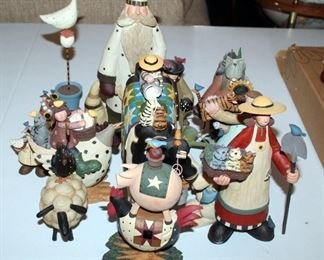 Willieraye Studio Resin Hand Painted Figurines Qty 13, Including Winter Bird Lovers And More