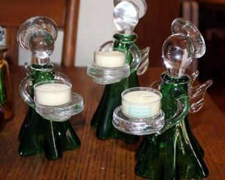 Art Glass Angel Candle Holders, Glass Fish, And Multi Colored Glass Bottles With Stoppers