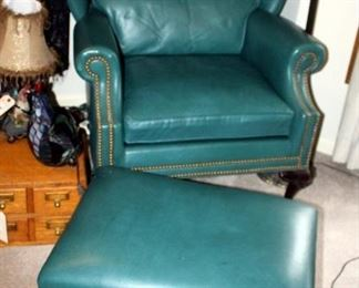 """Hancock & Moore Leather Wingback Arm Chair With Carved Ball & Claw Feet, 39.5"""" x 33"""" x 31"""", Includes Matching Foot Stool 16"""" x 26"""" x 20"""""""