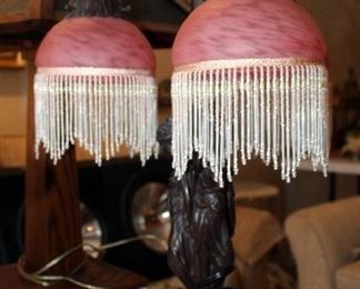 """Victorian Style 3-Light Table Lamp With Frosted Globe Shades And Beaded Fringe, Stands 23"""" Tall"""