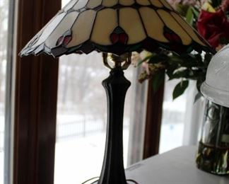 """20"""" Tiffany Style Pedestal Table Lamp And 16"""" Cut Glass Table Lamp"""