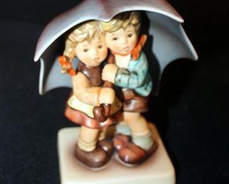 "M. J. Goebel Hummel Ceramic Figures Including Large Umbrella Boy & Girl, 6"" Tall & Small Umbrella Boy & Girl, Signed By Artist, Marked 634-2/0, 4.5"""