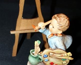 "M. J. Goebel Hummel Ceramic Figure, ""The Artist"" Marked Number 304, 6"" Tall, Includes Wood Easel"