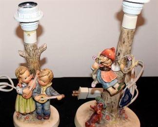 "M. J. Goebel Hummel Ceramic Candlestick Lamps, Qty 2, #44B - 12.5"" Tall And #1935 - 10.75"" Tall"