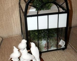 """Metal And Glass Terrarium With Floral Decor 16"""" Tall x 10"""" x 10"""", And Godinger Glazed Song Bird Figures, Qty 4 With Pedestal, Birds Approx 8"""" Tall"""