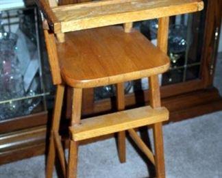 "Vintage Wood Doll Highchair With Dutch Decals, 31"" x 12"" x 10"""