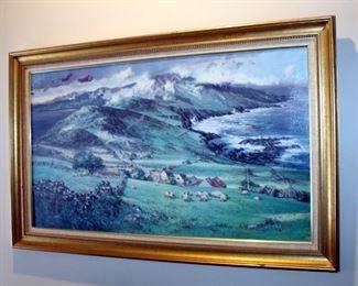 "Framed Canvas Print Of Pastoral Landscape With Sheep By Edmund Sullivan, 28.5"" x 46"""