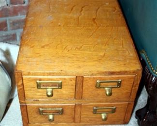 """Vintage Tabletop Wood Four-Drawer Card Filing Cabinet, 10"""" x 14"""" x 18.5"""""""