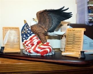 """Lenox Porcelain Bill Of Rights, """"Defender Of Freedom"""" Eagle With American Flag, & """"We The People"""" Statues, Qty 3, With Wood Display Base"""
