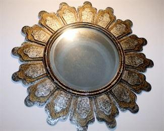 """Sun Motif Metal Beveled Wall Mirror, 33"""" Round"""