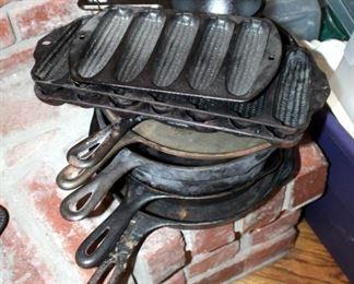 Cast Iron Skillet Assortment, Including Pots, Pans, And 3 Corn Plates, Qty 3