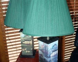 "Hunting Motif Wood Lamps, 29"" Tall, 7"" x 7"" Base, Qty 2"