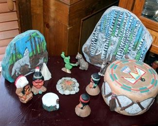 Native American Figurines, Including Ceramic Drum, And Campfire Scene, Qty 13 Pieces