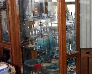 """Glass Front Lighted Curio Cabinet With 4 Glass Shelves, 80"""" x 46' x 14"""""""