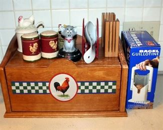 Bread Box, Bagel Slicers Qty 2, Salt And Pepper Shakers, Sugar Pot, And More