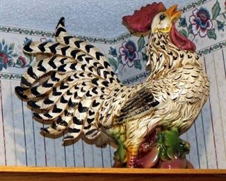 """Ceramic Rooster And Chicken Decor, Tallest One Is 20"""", Qty 9, Includes Clock, Weather Vane, And Decorative Plates, Qty 5"""