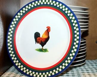 International Table Works Ellas Rooster Collection, Plates, Bowls, Serving Dishes, Mugs, Cake Plates, Contents Of 2 Shelves, Matched Set