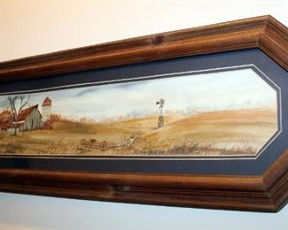 """Rural Watercolor Print By Bonczkowski, Signed And Dated 1986, Framed, Matted Under Glass, 11.25"""" x 35.25"""""""