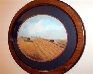 "Harvest Scene Lithograph Print Entitled ""First Load"" By Sandy Madden Walker, Framed, Matted Under Glass, Signed & Numbered 389/500, Includes COA"