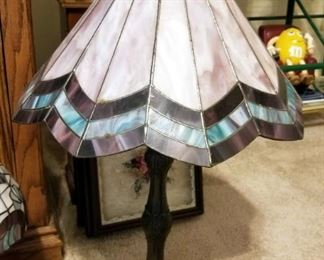 """Pottery Base 21"""" Lamp With Cutout Shade, Stained Glass Style Table Lamps Qty 2, 14"""" And 24"""", Includes Extra Shades"""