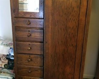 """Antique Solid Wood Six-Drawer Mirrored Wardrobe With Casters, 61"""" x 38"""" x 20"""""""