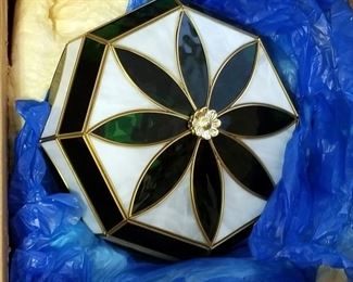 """Elgee West Inc. Genuine Brass And Glass Ceiling Fixture, 12"""" Wide x 5"""" Tall, New In Box, And Hunter Green Ceiling Fan Kit, New In Box"""