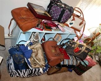 Handbags And Totes, Brands Include Michael Kors, Dooney & Bourke, Etienne Aigner, And More, Includes Wallets, Purses, And Scarves, Some New With Tags