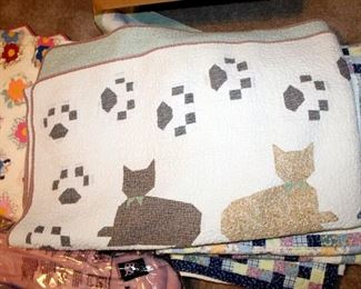 Quilted Linens Including Floral Blanket, Kitty Cat Quilt With Matching Pillow Sham, And More
